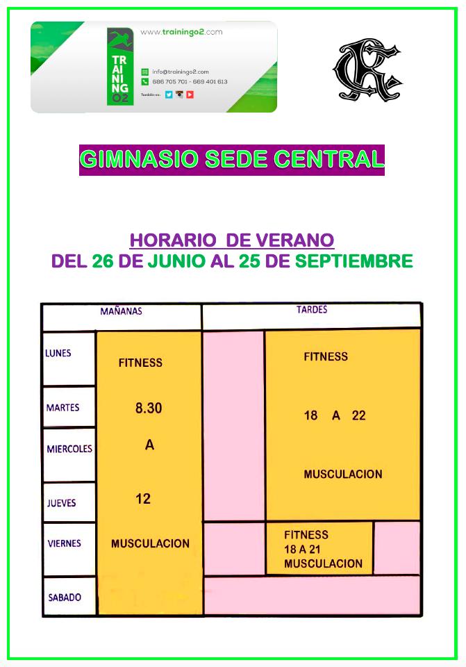 Horario de verano del gimnasio sede central circulo de for Horario gimnasio