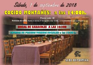 Cocido Montañés - Social de Caracoles - Entrega de Premios  - Actuación 2018 @ Sede Deportiva