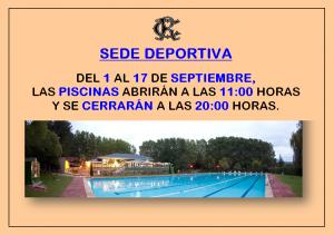 HORARIOS PISCINAS 2018 @ Sede Deportiva