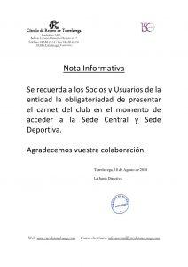 NOTA INFORMATIVA @ Sede Deportiva