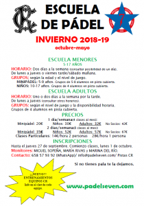 Escuela de Pádel Invierno 2018-19 @ Sede Deportiva