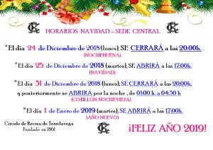Horarios Navidad Sede Central