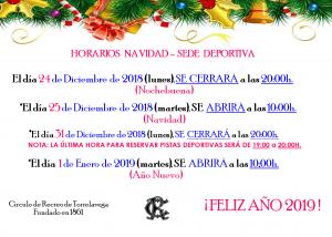 Horarios Navidad Sede Deportiva