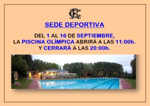 Horario Piscina @ Sede Deportiva