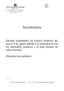 Talleres suspendidos infantiles 08-08-2019 @ Sede Deportiva