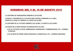 HORARIO HOSTELERÍA 09 AL 08-08-2019 @ Sede Central