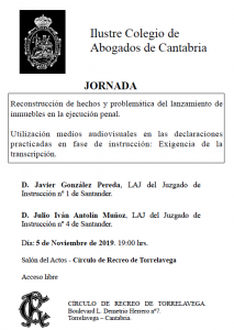 Charla Colegio Abogados Cantabria @ Sede Central