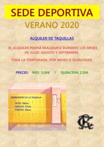 TAQUILLAS VERANO 2020 @ Sede Deportiva