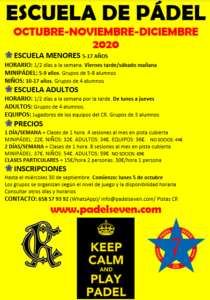 Escuela de Pádel 01-10-2020 @ Sede Deportiva