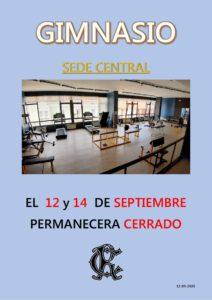 Gimnasio 12 y 14-09-2020 @ Sede Central