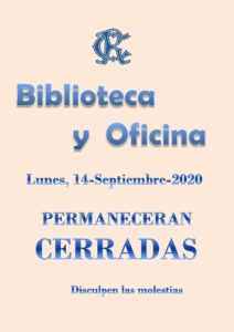 Biblioteca y Oficina 14-09-2020 @ Sede Central