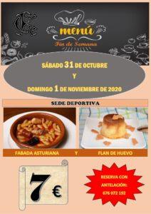 Menú fin semana 31-10-2020 @ Sede Deportiva