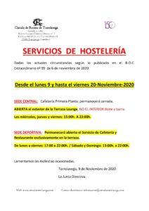 Hostelería 09 al 20-11-2020 @ Sede Deportiva
