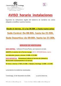 Horarios Sedes 13-11-2020 @ Sede Central