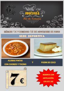 Menú 14 y 15-11-2020 @ Sede Deportiva