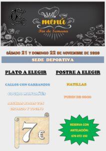 Menú 21 y 22-11-2020 @ Sede Deportiva