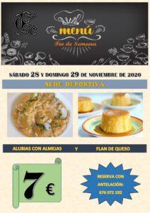 Menú 28 y 29-11-2020 @ Sede Deportiva