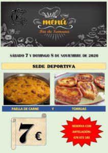 Menú fin semana 07-11-2020 @ Sede Deportiva