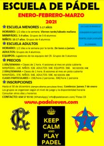 Escuela Pádel 1erTrm2021 @ Sede Deportiva