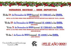 Sede Deportiva Horario Navidad 2020