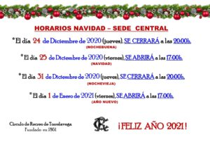 Sede Central Horario Navidad 2020 @ Sede Central