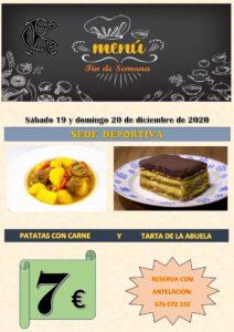 Menú Fin semana 19 y 20-12-2020 @ Sede Deportiva
