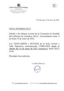 Vestuarios cerrados 16-01-2021 @ Sede Deportiva