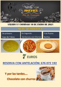 Menú 09 y 10-01-2021 @ Sede Deportiva
