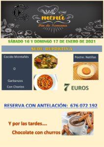 Menú 16 y 17-01-2021 @ Sede Deportiva