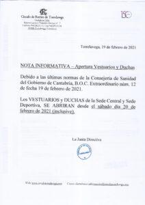 APERTURA VESTUARIOS Y DUCHAS 20-02-2021 @ SEDE DEPORTIVA