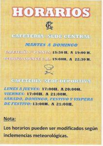 Horarios Hostelería desde el 25-03-2021 @ SEDE DEPORTIVA