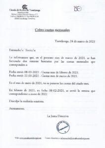 Cuotas Mensuales Marzo 2021 @ SEDE CENTRAL