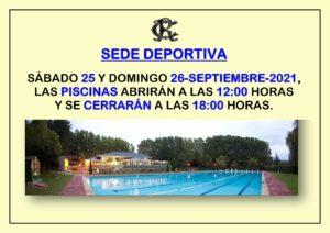 Piscinas 25 y 26-09-2021 @ SEDE DEPORTIVA