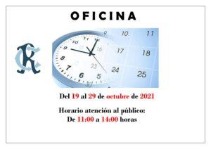 Oficina Horario 19 al 29-10-2021 @ SEDE CENTRAL