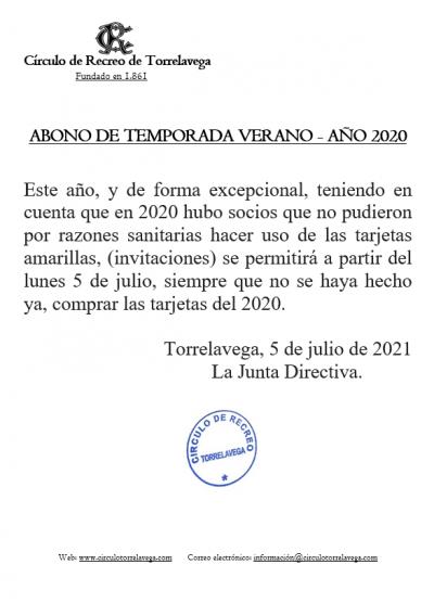 Abono temporada año 2020 se recogen en 2021 05-07-2021