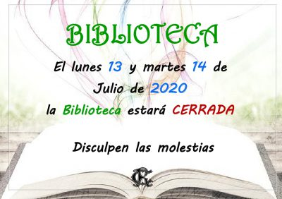 BIBLIOTECA cerrada 13 y 14 de julio 2020_page_1