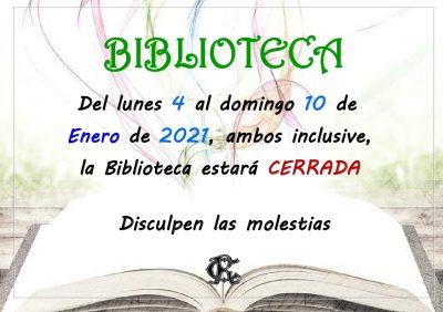 BIBLIOTECA cerrada del 4 al 10 de enero 2021_page_1