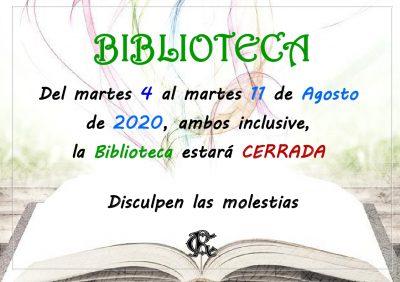BIBLIOTECA cerrada del 4 al 11 de agosto 2020_page_1
