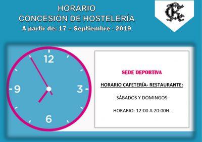 CARTEL HORARIO HOSTELERIA SEDE DEPORTIVA DESDE 17-09-2019