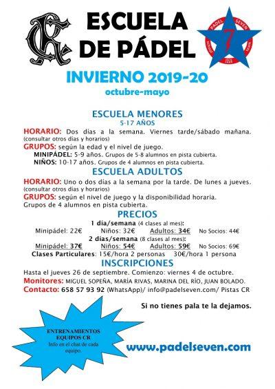 Escuela Padel Invierno 2019-2020