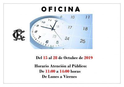 OFICINA HORARIO 15 al 28 octubre de 2019