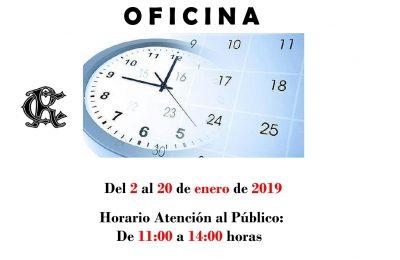 OFICINA HORARIO 2 al 20 enero de 2019