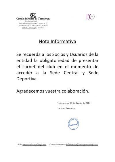 Sede y club presentar carnet de socio 10-08-2018