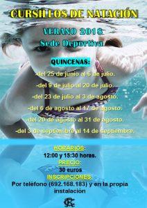 Cursillos de natación verano 2018 @ Sede deportiva (Tronqueria)