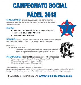 Torneo Social de Pádel 2018 @ Sede  Deportiva
