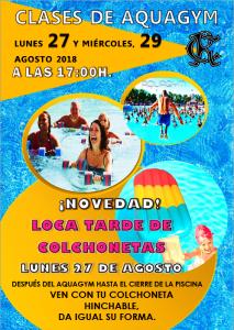 Aquagym y Colchonetas Agosto 2018 @ Sede Deportiva