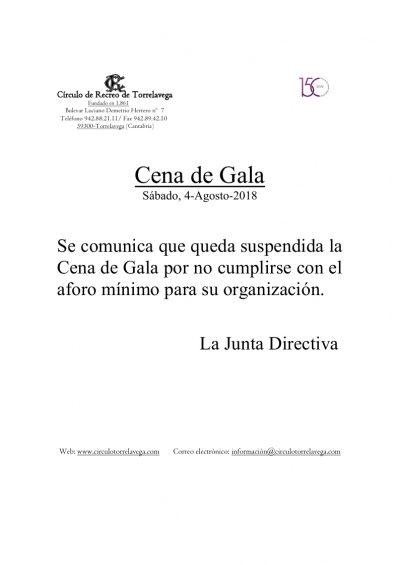 Cena de Gala 2018 suspendida