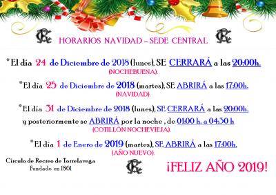 HORARIOS NAVIDAD S. CENTRAL