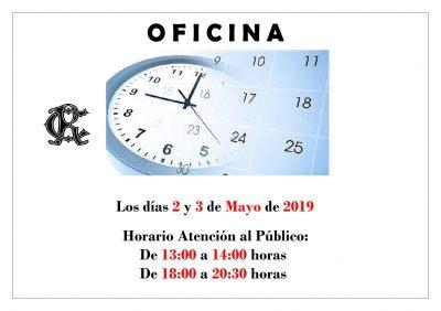 OFICINA HORARIO 2 y 3-05 2019
